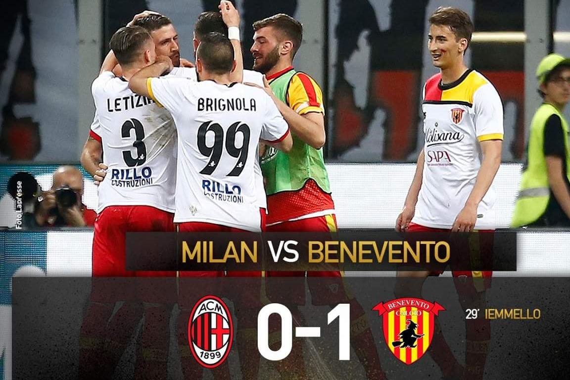 Milan-Benevento 0-1: risultato storico