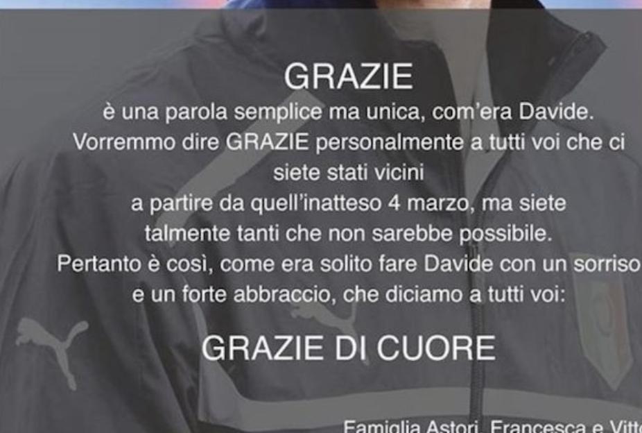 La lettera di ringraziamento a Firenze
