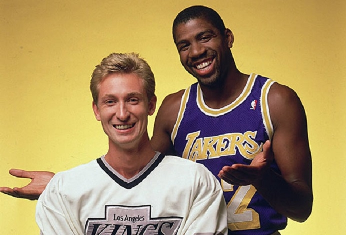 Magic Johnson dà il benvenuto a Gretzky