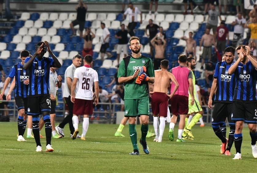 Atalanta-Sarajevo giocatori a fine parti