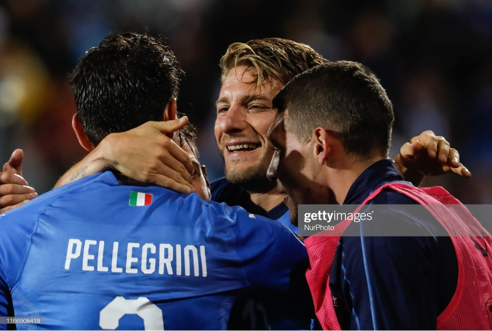 Ciro Immobile C of Italy celebrates his