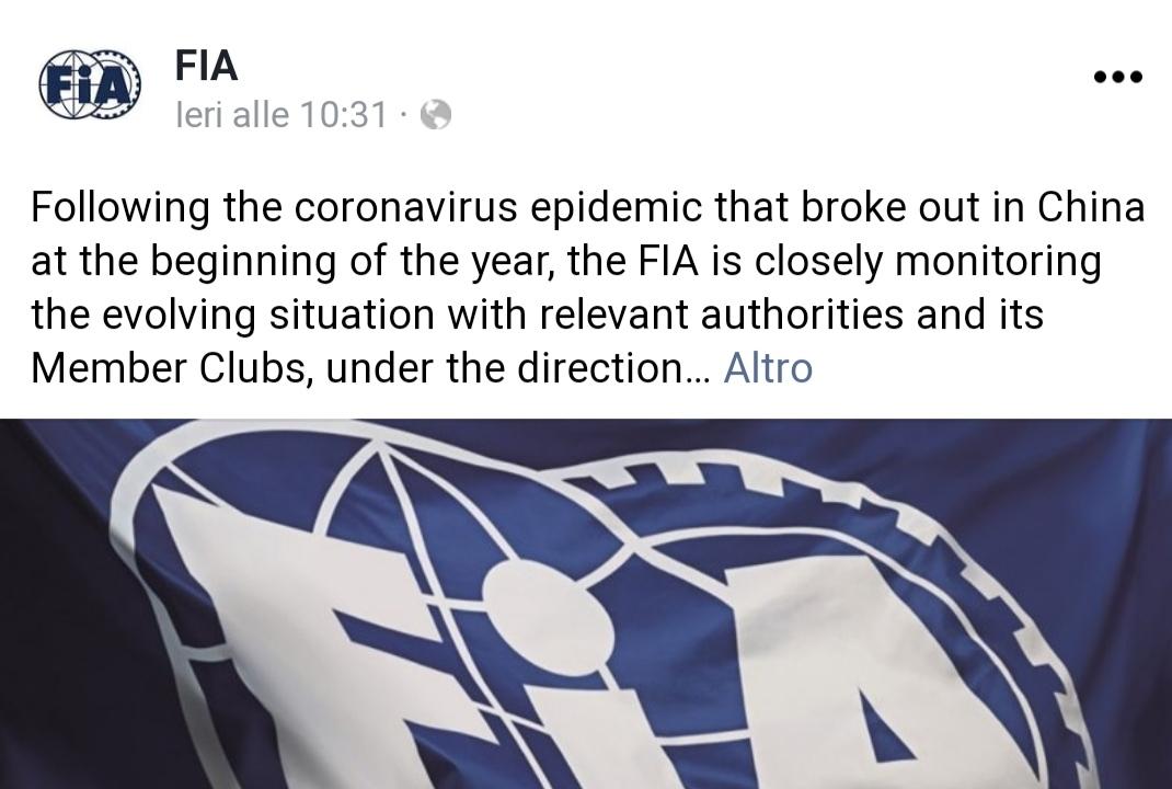 Formula1 FIA Coronavirus