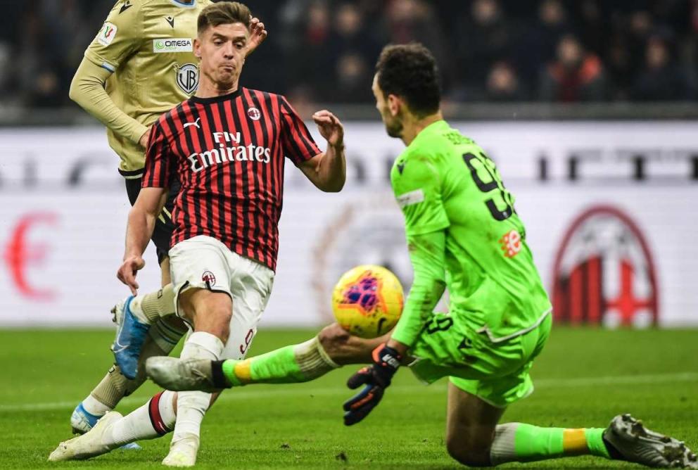 Piatek segna il vantaggio rossonero