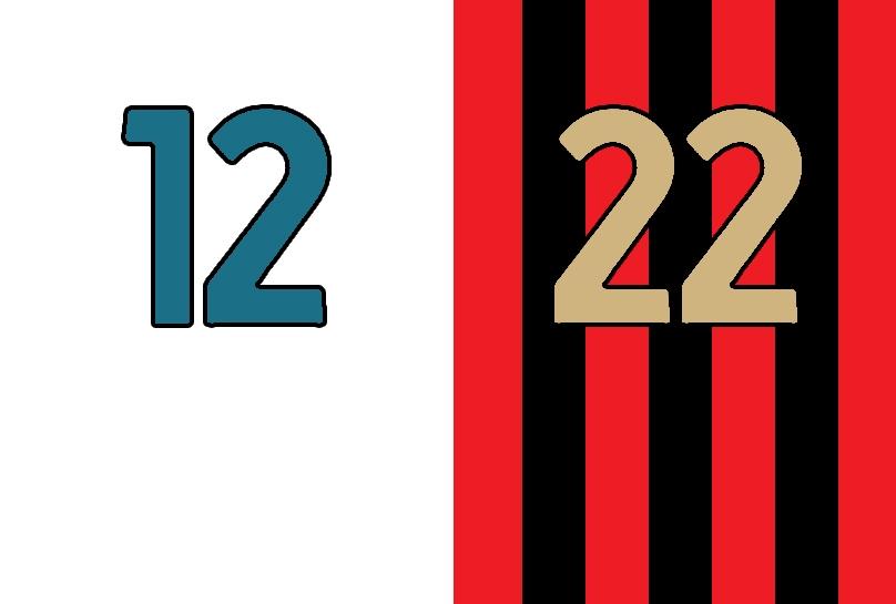 12 bianco e 22 rossonero