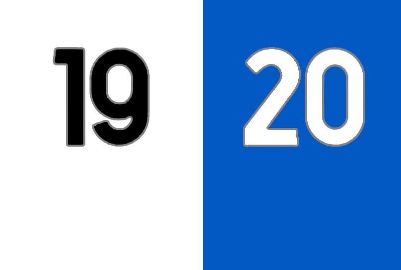 19 bianco e 20 azzurro